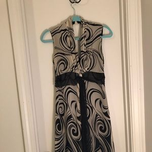 Flowing Midi Dress abstract print